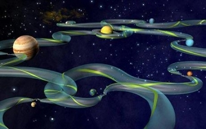 Artists impression of the gravitational corridors in the Solar System