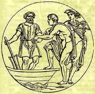 a soul getting into the Ferry and paying Charon. Behind is Mercury with his staff bearing a winding serpent.