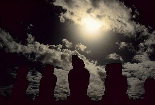 Easter Island statues by midnight