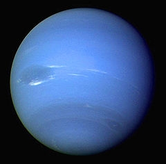 An image of the planet Neptune, taken from Voyager