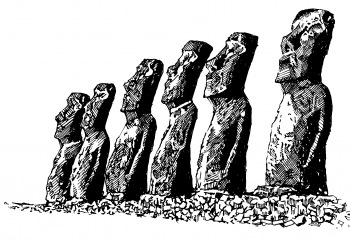 The giant statues or moai of Easter Island