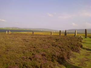 view of Ness of Brodgar from Standing Stones by Alison Chester-Lambert
